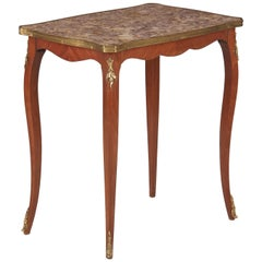 French Louis XV Style Cherry Wood and Marble-Top Side Table, 1940s