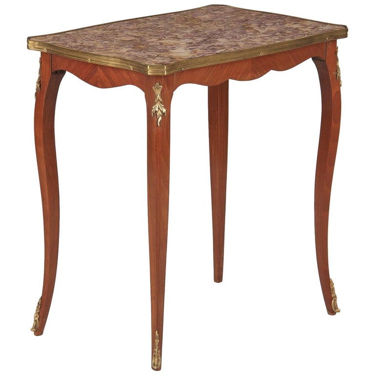 French Louis XV Style Cherry Wood and Marble-Top Side Table, 1940s For Sale