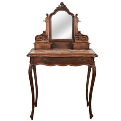French Louis XV Style Marble Top Vanity