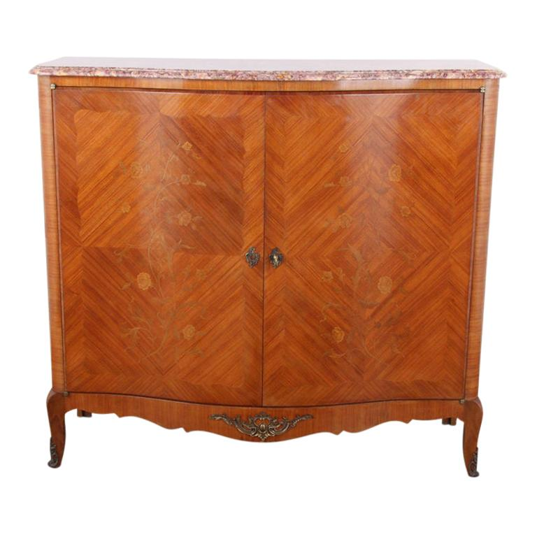 French Louis XV-Style Marquetry Cabinet