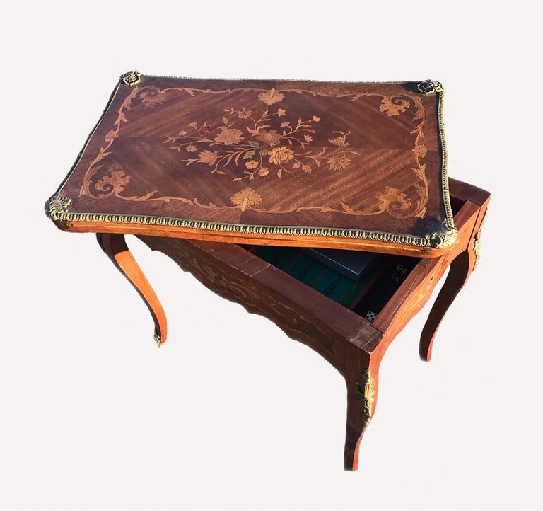 French Louis XV Style Marquetry Inlaid Bronze Swivel Top Card Game Table 4