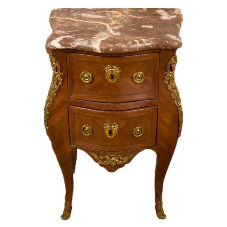 French Louis XV Style Marquetry Night Stand Side Cabinet, circa 1940 For Sale
