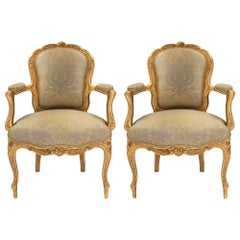 French Louis XV Style Mid-19th Century Giltwood Armchairs