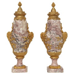 French Louis XV Style Mid-19th Century Ormolu and Marble Cassolettes