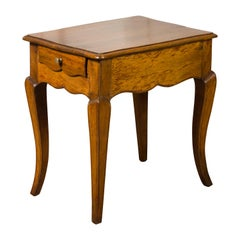 French Louis XV Style Midcentury Walnut Side Table with Long Single Drawer