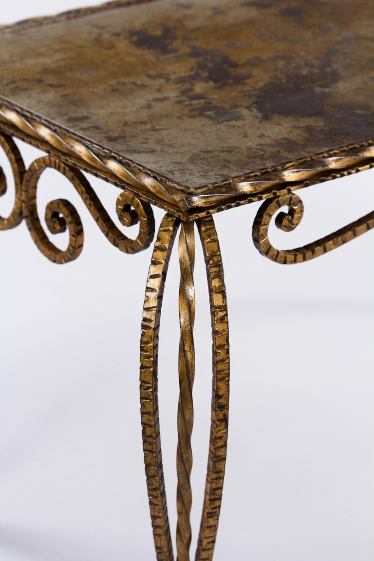 French Midcentury Gilded Metal and Mirrored Top Coffee Table, 1940s For Sale 7