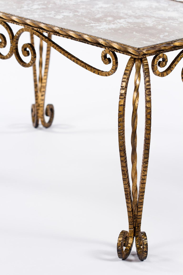 French Midcentury Gilded Metal and Mirrored Top Coffee Table, 1940s For Sale 9