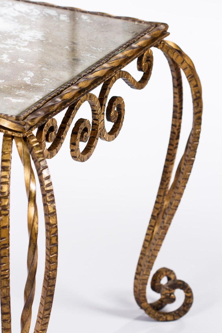 French Midcentury Gilded Metal and Mirrored Top Coffee Table, 1940s For Sale 10