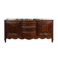 French Louis XV Style Oak Sideboard with Scrolled Motifs, Late 18th Century