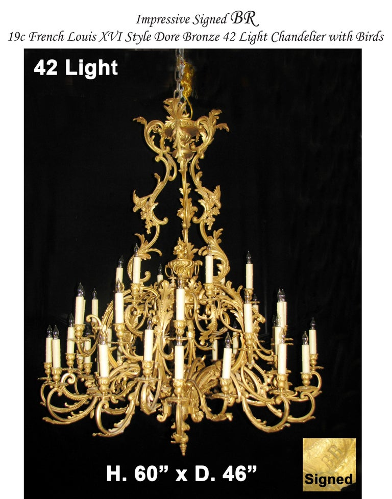 French Louis XV Style Ormolu Chandelier, 19th Century Signed BR For Sale 11