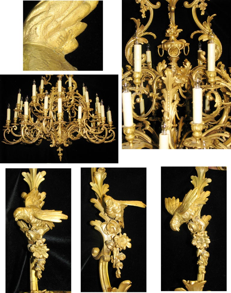 French Louis XV Style Ormolu Chandelier, 19th Century Signed BR For Sale 12