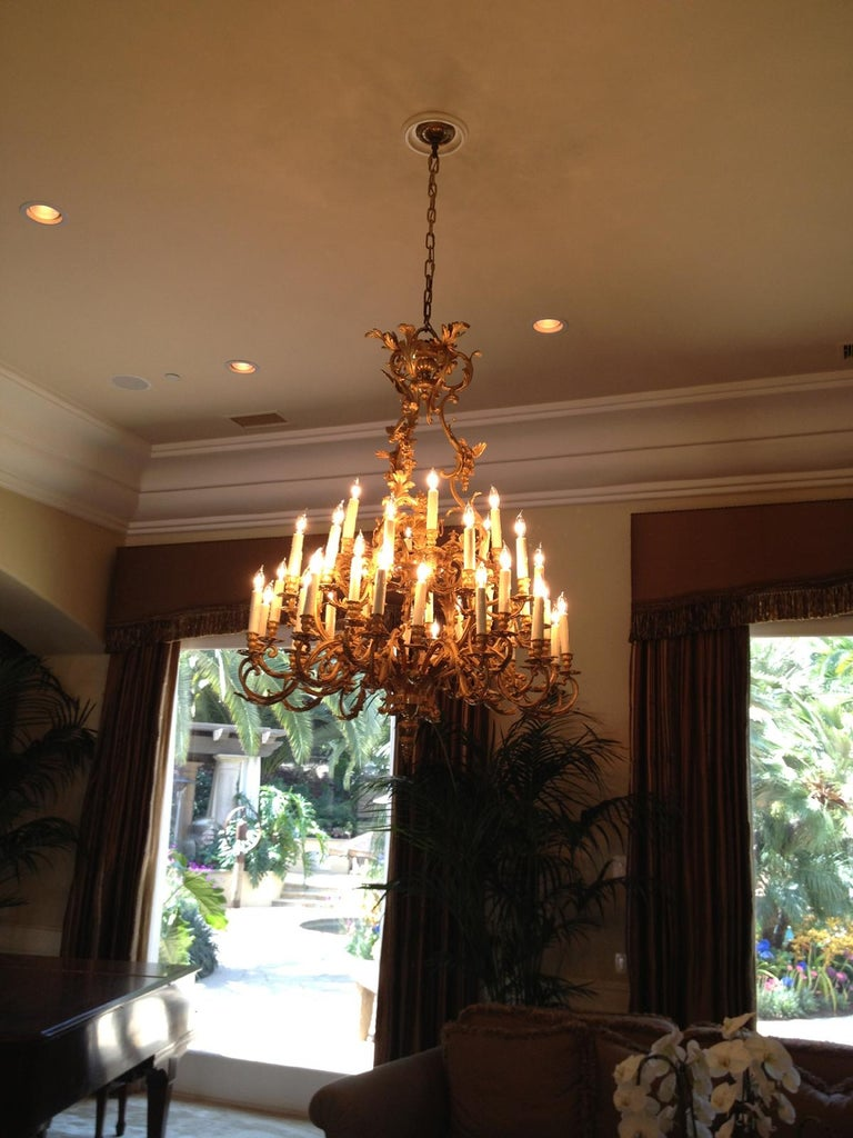 French Louis XV Style Ormolu Chandelier, 19th Century Signed BR For Sale 13
