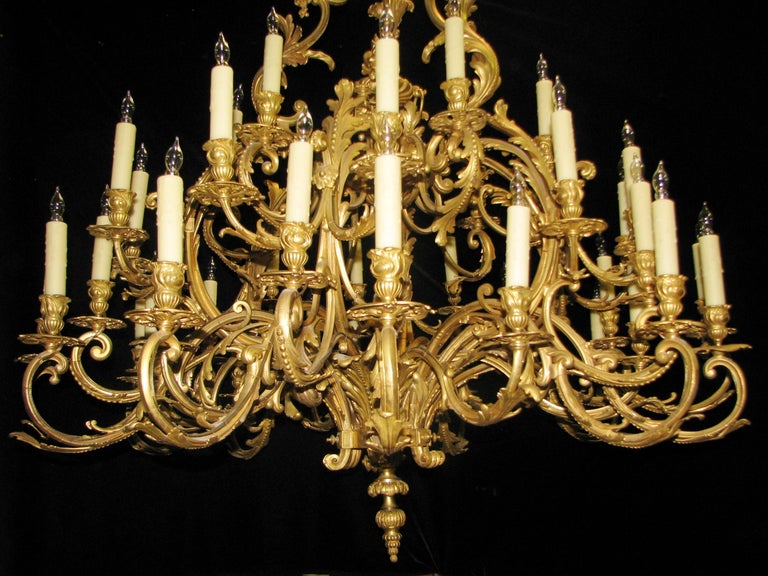 Gilt French Louis XV Style Ormolu Chandelier, 19th Century Signed BR For Sale