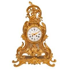 French Louis XV Style Ormolu Clock, Signed Richond, Paris