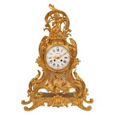 French Louis XV Style Ormolu Clock Signed Richond, Paris