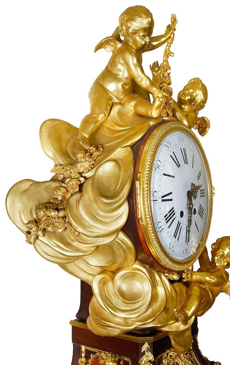 French Louis XV Style Ormolu Grandfather Clock For Sale 10