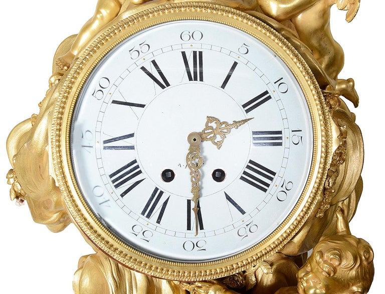 French Louis XV Style Ormolu Grandfather Clock For Sale 4