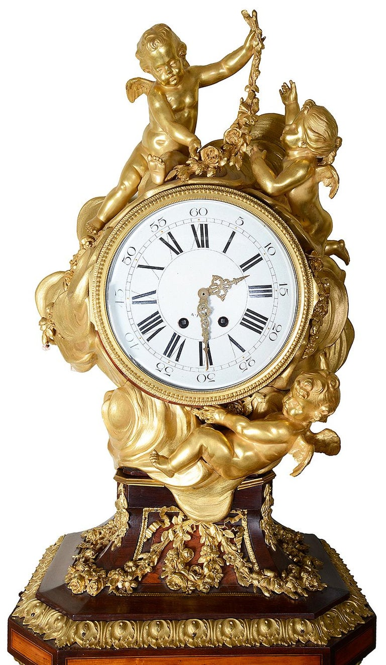 French Louis XV Style Ormolu Grandfather Clock For Sale 5