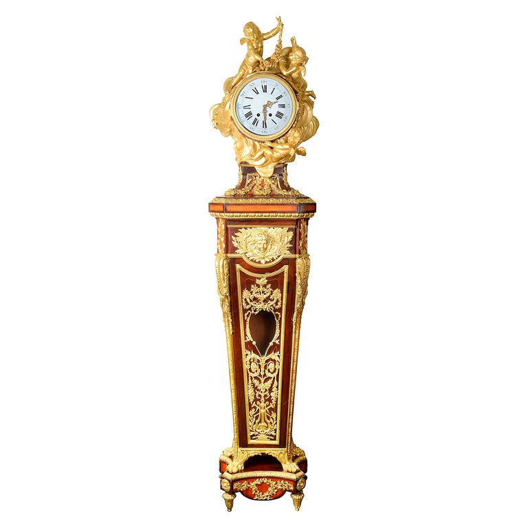 French Louis XV Style Ormolu Grandfather Clock For Sale
