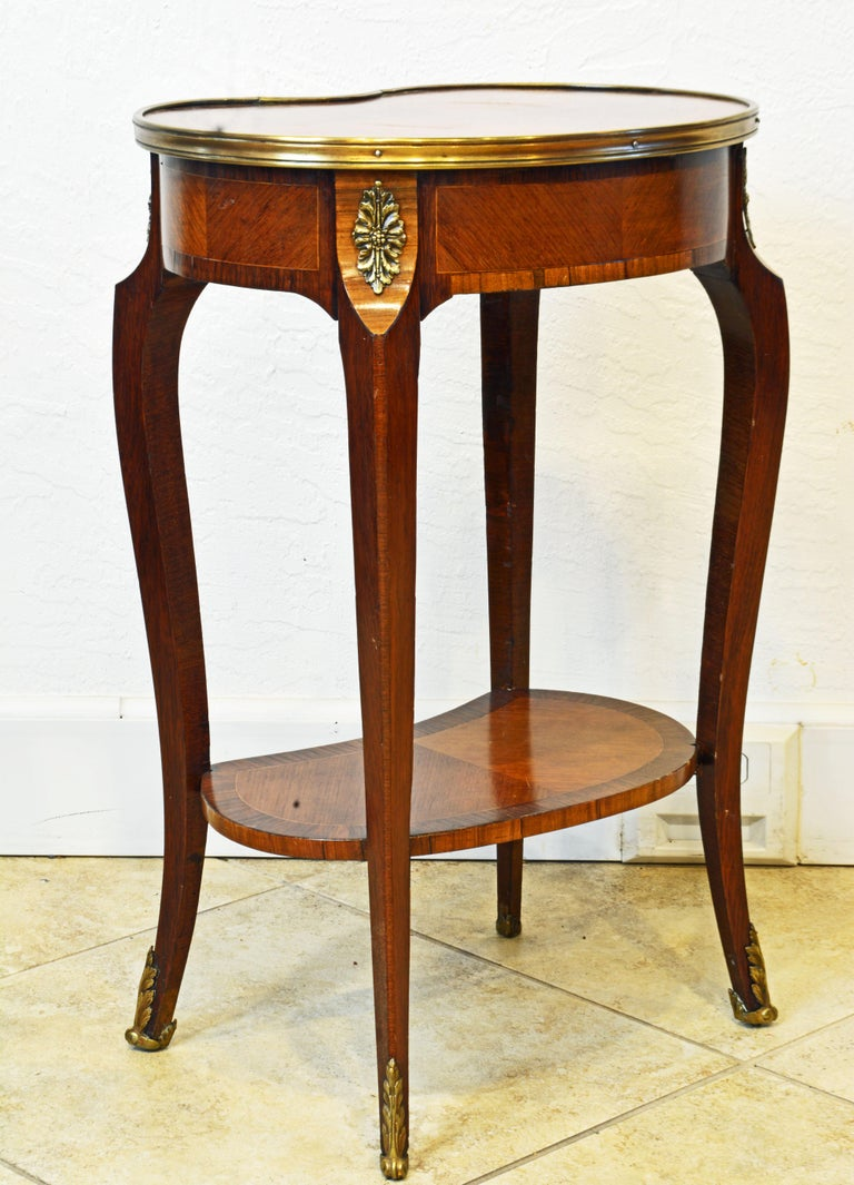Gilt French Louis XV Style Ormolu Mounted Kidney Shape Table with Writing Compartment For Sale