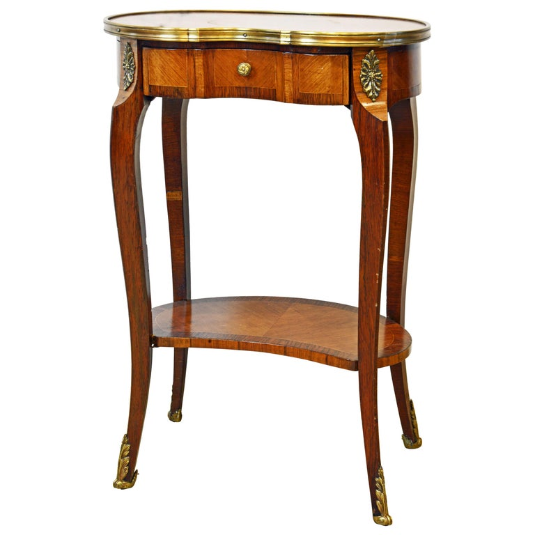 French Louis XV Style Ormolu Mounted Kidney Shape Table with Writing Compartment For Sale