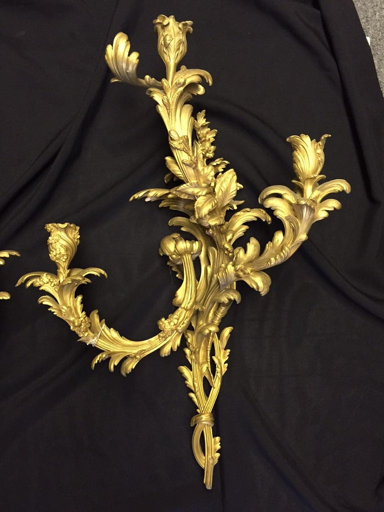 French Louis XV Style Ormolu Sconces, 19th Century For Sale 1