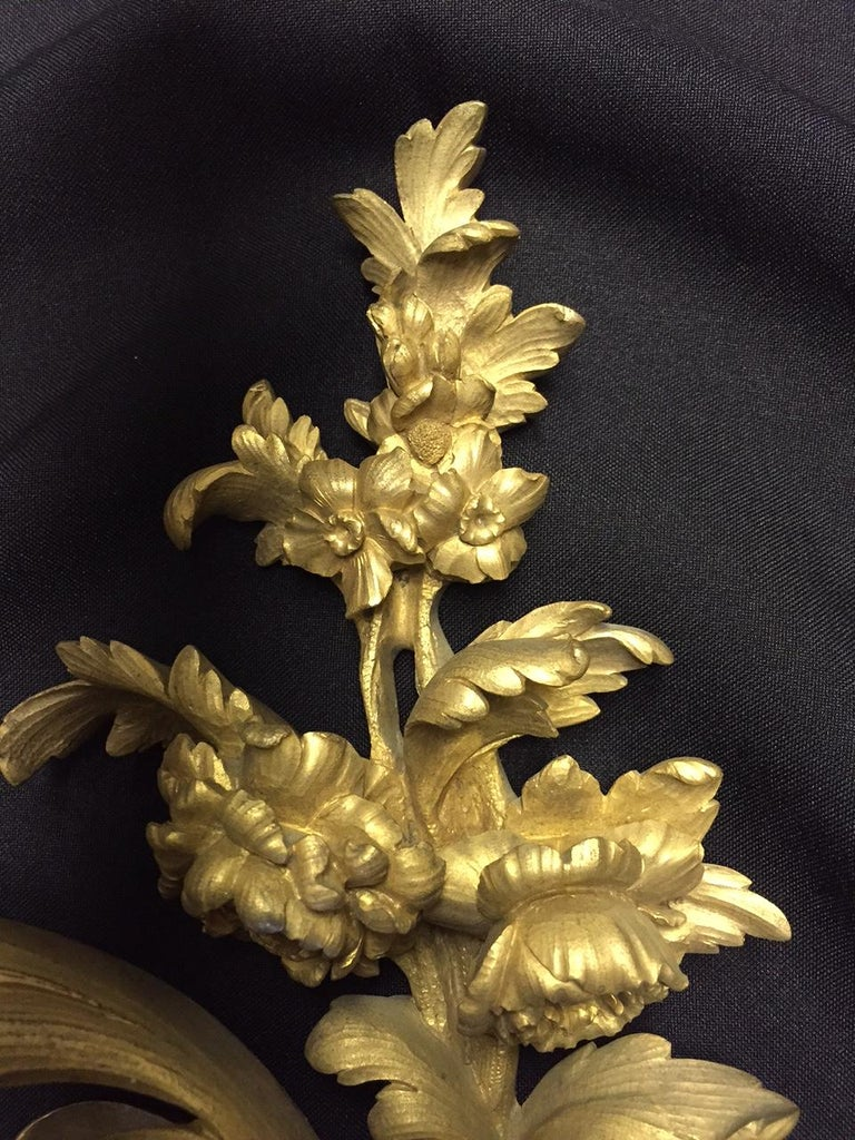 French Louis XV Style Ormolu Sconces, 19th Century For Sale 3