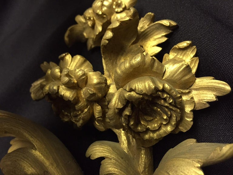 French Louis XV Style Ormolu Sconces, 19th Century For Sale 4