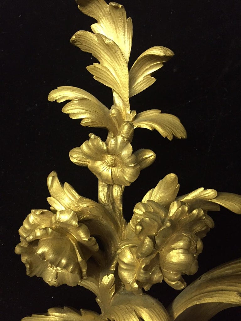 French Louis XV Style Ormolu Sconces, 19th Century For Sale 5