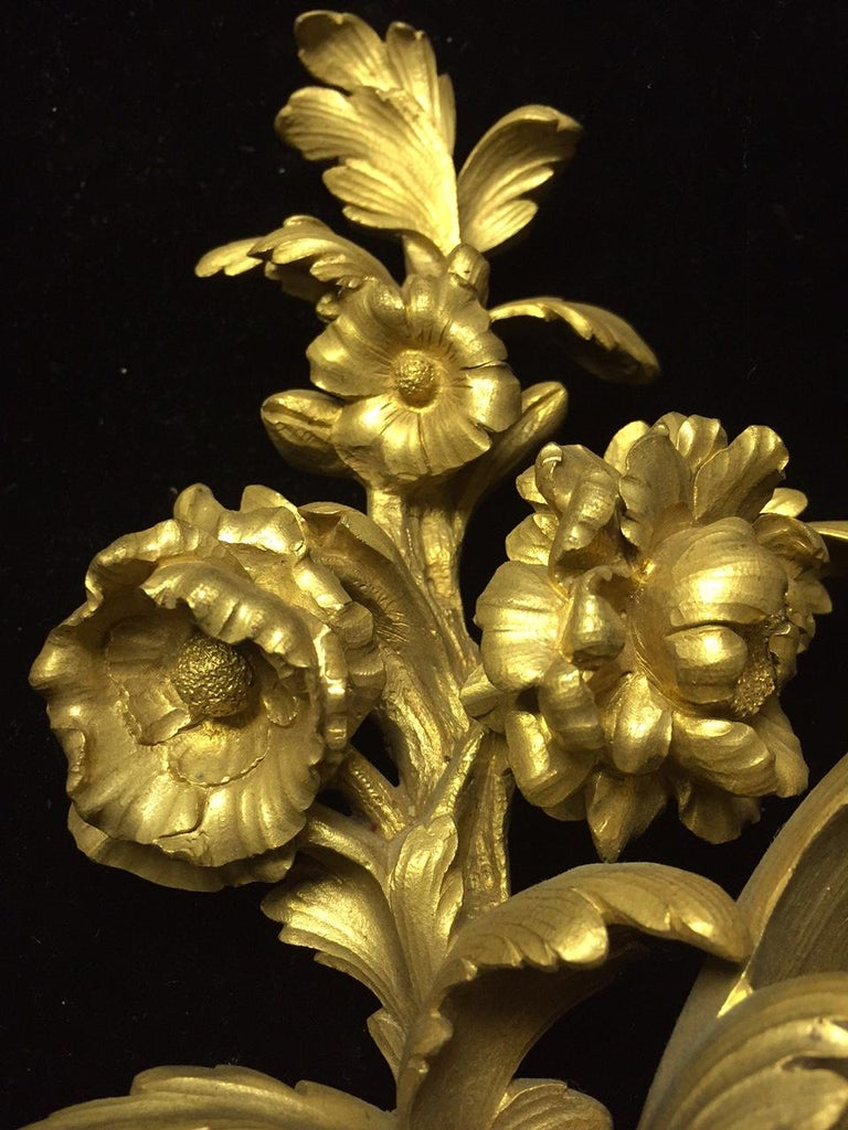 French Louis XV Style Ormolu Sconces, 19th Century For Sale 6