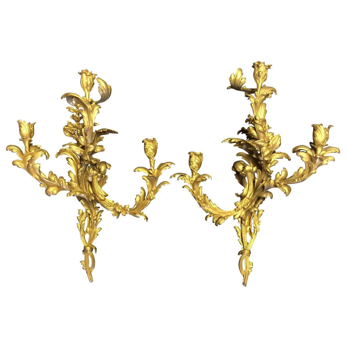 French Louis XV Style Ormolu Sconces, 19th Century