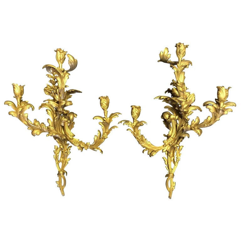 French Louis XV Style Ormolu Sconces, 19th Century For Sale