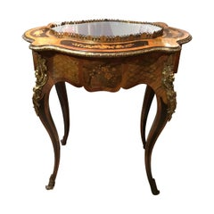 French Louis XV Style Oval Side Table with Marquetry and Bronze Dore Mounts