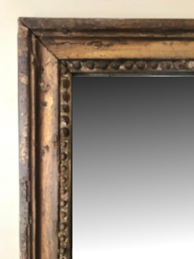 Canvas French Louis XV Style Painted and Gilt Trumeau Mirror For Sale