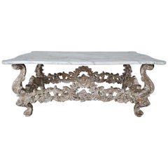 French Louis XV Style Painted Coffee Table with Carrara Marble Top