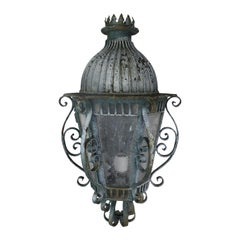 French Louis XV Style Painted Handwrought Iron Lantern Sconce