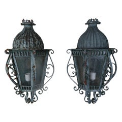 French Louis XV Style Painted Wrought Iron Lantern Sconces, Pair