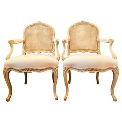 French Louis XV Style Pair of Armchairs, Caned Seatback, 6 Available