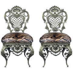 French Louis XV Style Pair of Bronze Side Chairs
