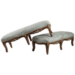 French Louis XV Style Pair of Carved Footstool, circa 1880