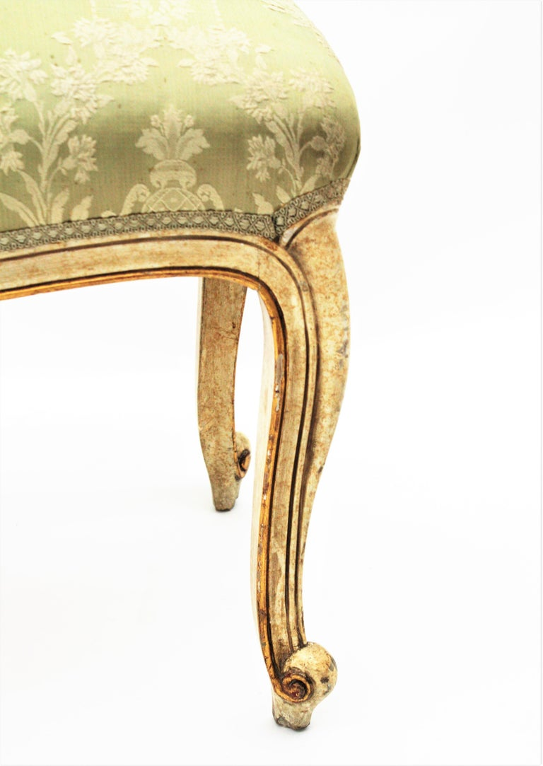 French Louis XV Style Parcel-Gilt Carved Wood Ivory Painted Bench / Stool 6