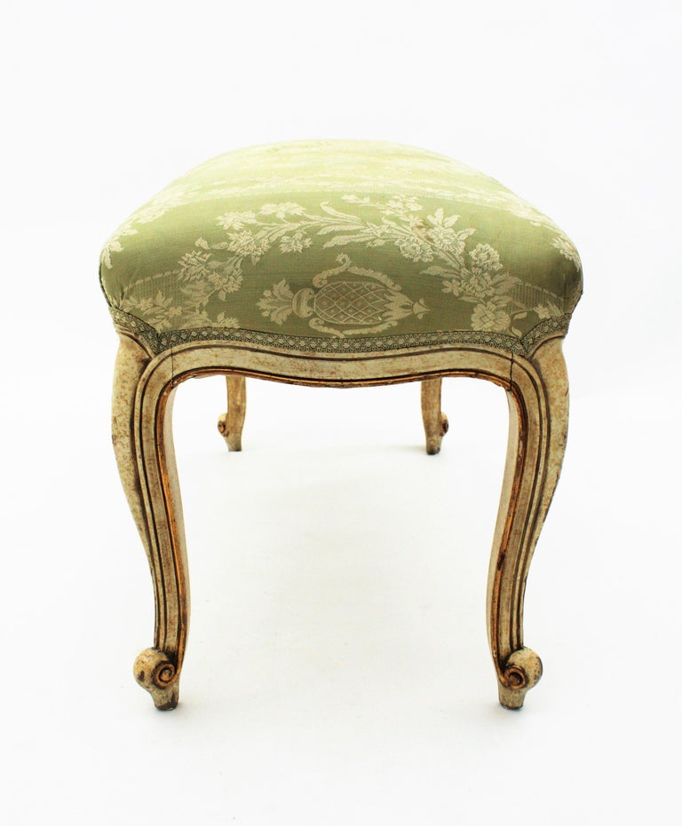 French Louis XV Style Parcel-Gilt Carved Wood Ivory Painted Bench / Stool 7