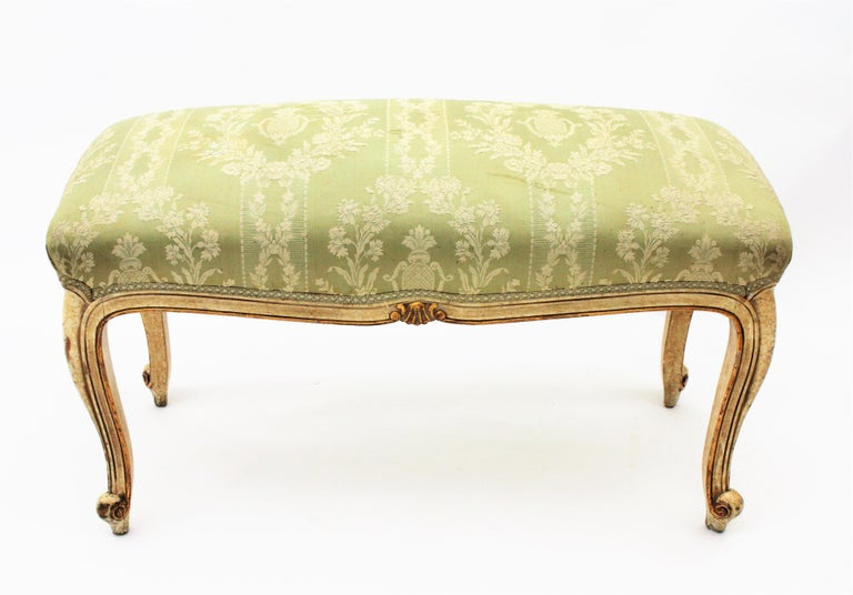 French Louis XV Style Parcel-Gilt Carved Wood Ivory Painted Bench / Stool 8