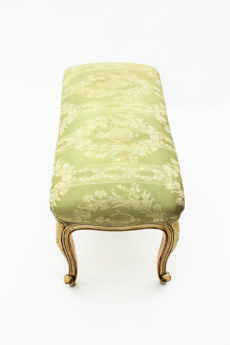 French Louis XV Style Parcel-Gilt Carved Wood Ivory Painted Bench / Stool 10
