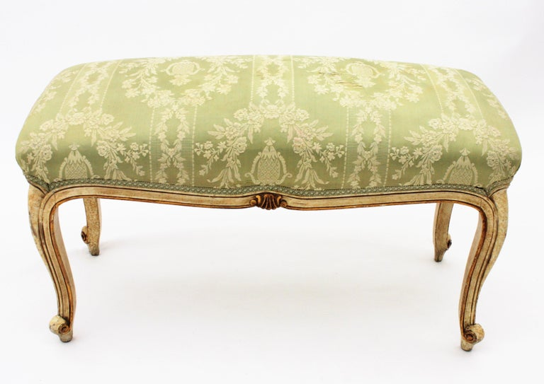 French Louis XV Style Parcel-Gilt Carved Wood Ivory Painted Bench / Stool 12