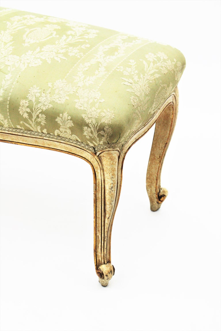 French Louis XV Style Parcel-Gilt Carved Wood Ivory Painted Bench / Stool 13