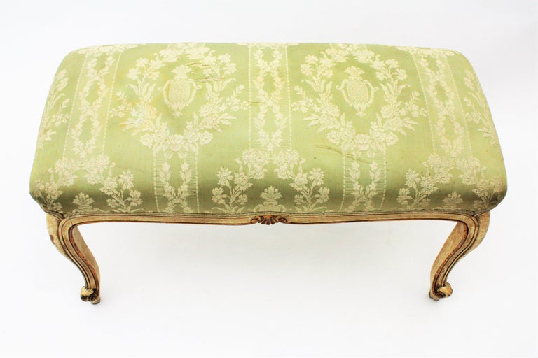 French Louis XV Style Parcel-Gilt Carved Wood Ivory Painted Bench / Stool 14