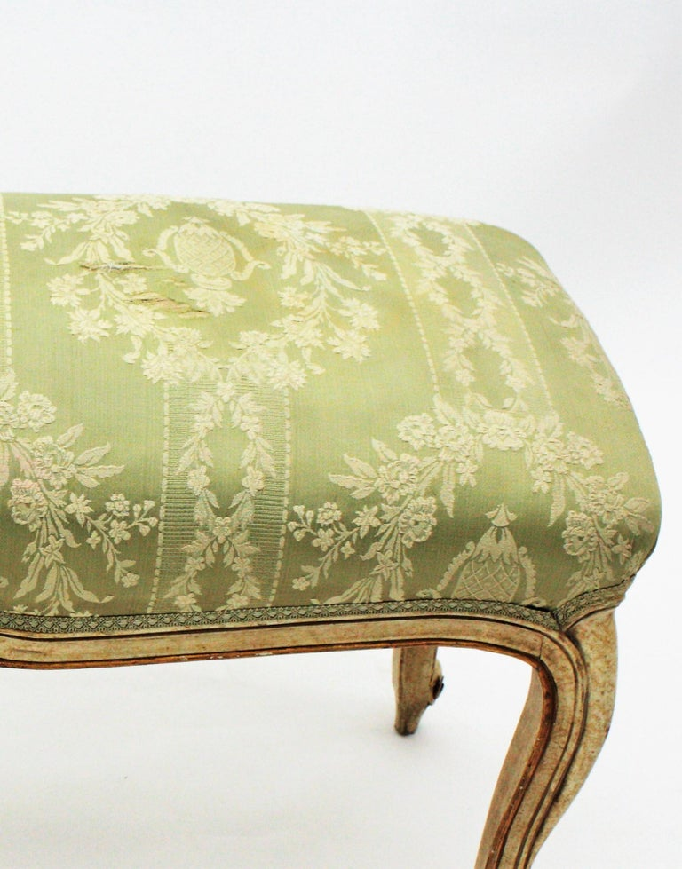 French Louis XV Style Parcel-Gilt Carved Wood Ivory Painted Bench / Stool 15