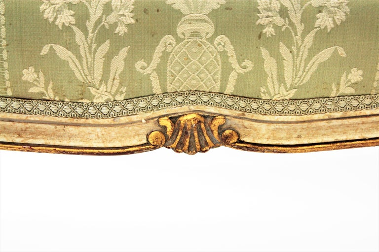 19th Century French Louis XV Style Parcel-Gilt Carved Wood Ivory Painted Bench / Stool