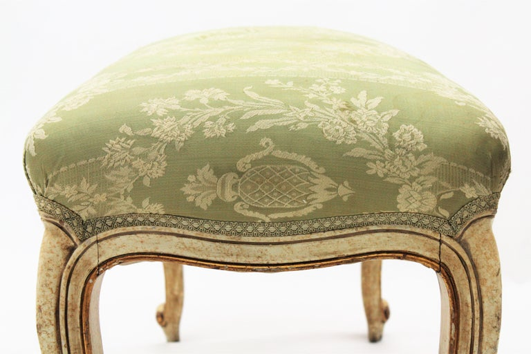 French Louis XV Style Parcel-Gilt Carved Wood Ivory Painted Bench / Stool 3